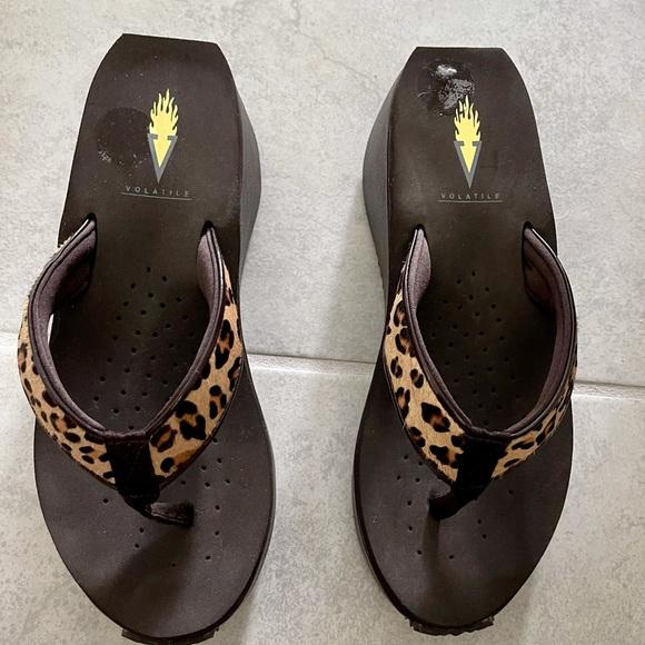 Volatile Leopard Thong Sandals
